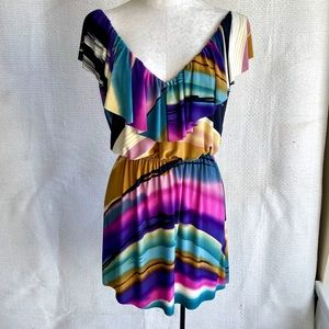 TBags LA Southwestern Sunset Blouson Mini Dress